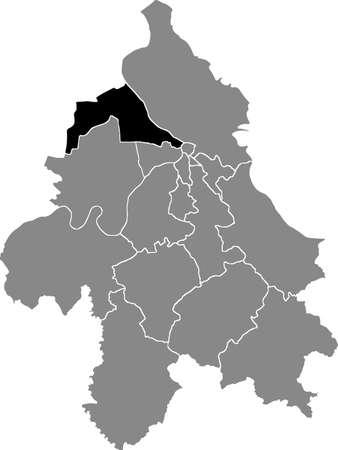 Black location map of the Belgradian Zemun municipality insdide the Serbian capital city of Belgrade, Serbia