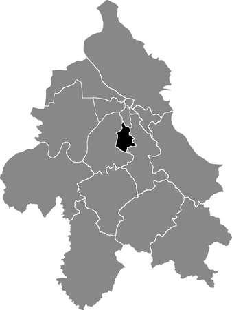 Black location map of the Belgradian Rakovica municipality insdide the Serbian capital city of Belgrade, Serbia