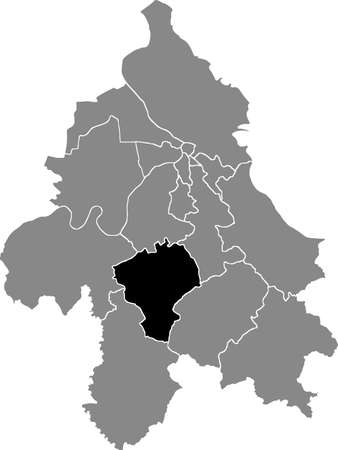 Black location map of the Belgradian Barajevo municipality insdide the Serbian capital city of Belgrade, Serbia