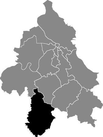 Black location map of the Belgradian Lazarevac municipality insdide the Serbian capital city of Belgrade, Serbia