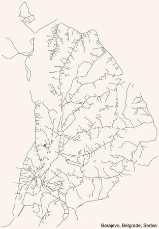 Black simple detailed street roads map on vintage beige background of the quarter Barajevo municipality of Belgrade, Serbia