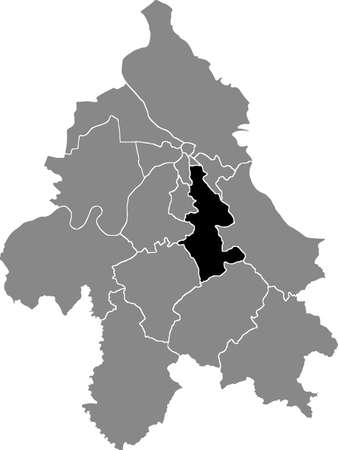 Black location map of the Belgradian Voždovac municipality insdide the Serbian capital city of Belgrade, Serbia