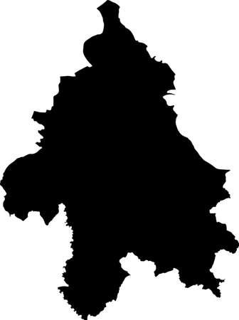 Simple vector black administrative map of Belgrade, Serbia