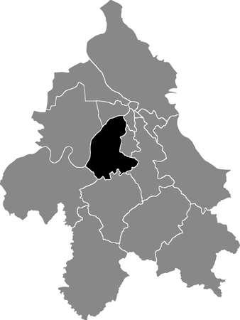 Black location map of the Belgradian ÄŒukarica municipality insdide the Serbian capital city of Belgrade, Serbia