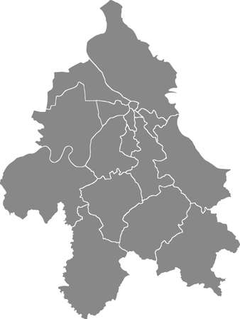 Simple gray vector map with white borders of municipalities of Belgrade, Serbia
