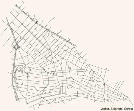 Black simple detailed street roads map on vintage beige background of the quarter Vračar municipality of Belgrade, Serbia