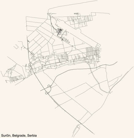 Black simple detailed street roads map on vintage beige background of the quarter Surčin municipality of Belgrade, Serbia
