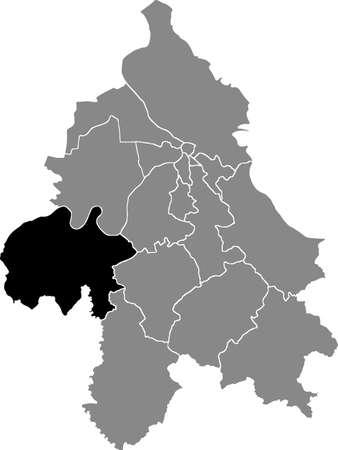 Black location map of the Belgradian Obrenovac municipality insdide the Serbian capital city of Belgrade, Serbia