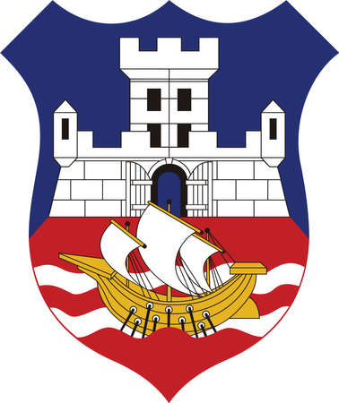 Vector coat of arms illustration of the Serbian city of Belgrade, Serbia