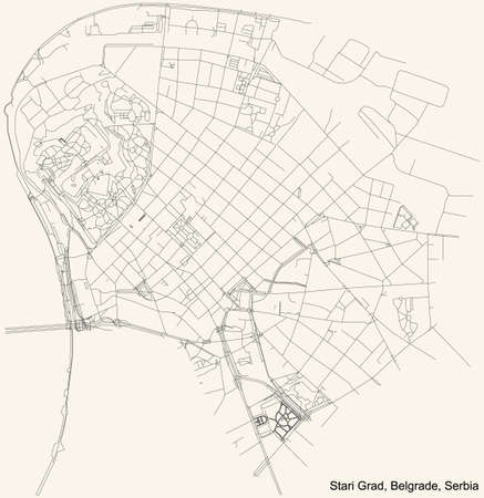 Black simple detailed street roads map on vintage beige background of the quarter Stari Grad municipality of Belgrade, Serbia 向量圖像
