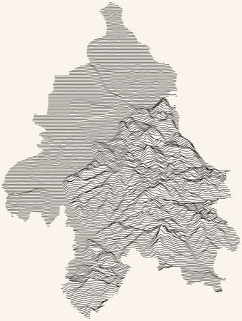 Topographic map of Belgrade, Serbia with black contour lines on beige background 向量圖像