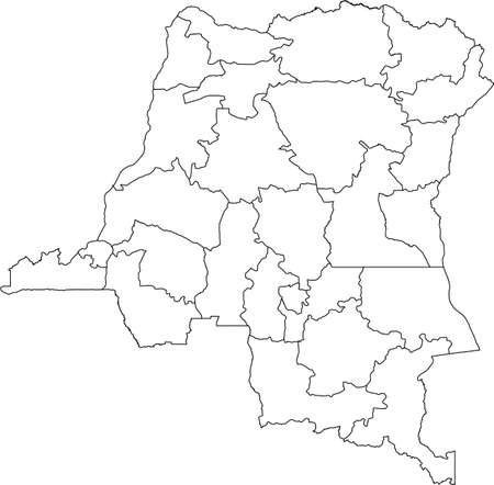 White vector map of the Democratic Republic of the Congo with black borders of its provinces