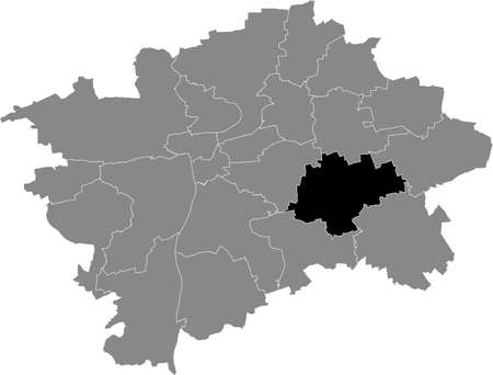 Black location map of the Praguian Praha 15 municipal district insdide black Czech capital city map of Prague, Czech Republic