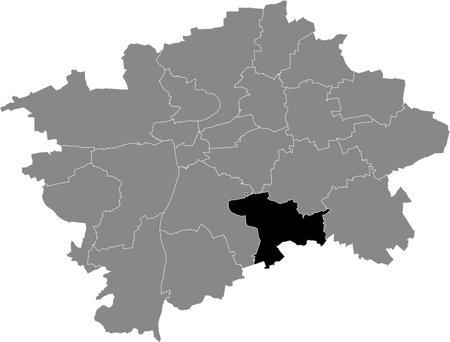 Black location map of the Praguian Praha 11 municipal district insdide black Czech capital city map of Prague, Czech Republic