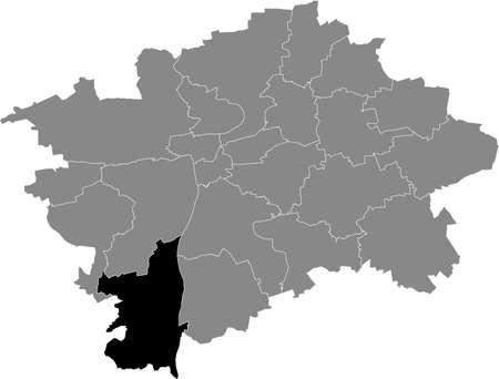 Black location map of the Praguian Praha 16 municipal district insdide black Czech capital city map of Prague, Czech Republic Vektoros illusztráció