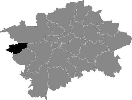 Black location map of the Praguian Praha 17 municipal district insdide black Czech capital city map of Prague, Czech Republic