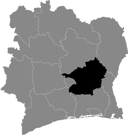 Black highlighted location map of the Ivorian Lacs district inside gray map of the Republic of Ivory Coast (Côte d'Ivoire)