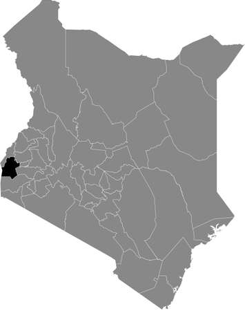 Black highlighted location map of the Kenyan Siaya county inside gray map of the Republic of Kenya