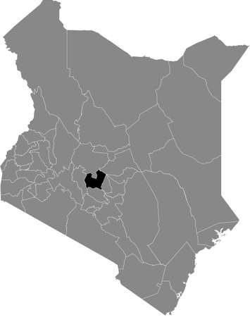 Black highlighted location map of the Kenyan Nyeri county inside gray map of the Republic of Kenya