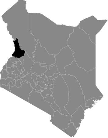 Black highlighted location map of the Kenyan West Pokot county inside gray map of the Republic of Kenya