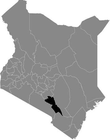 Black highlighted location map of the Kenyan Makueni county inside gray map of the Republic of Kenya