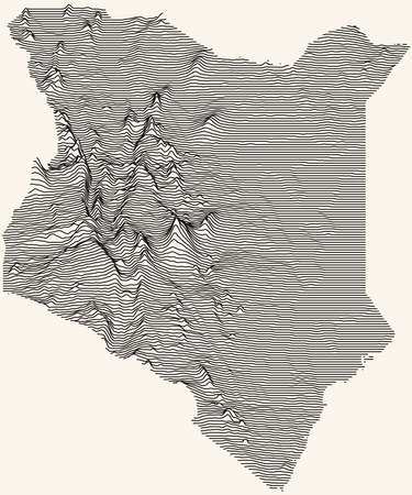 Light topographic map of the Republic of Kenya with black contour lines on beige background