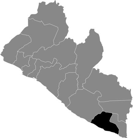 Black highlighted location map of the Liberian Grand Kru county inside gray map of the Republic of Liberia
