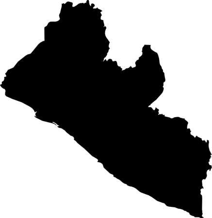Simple black vector map of the Republic of Liberia