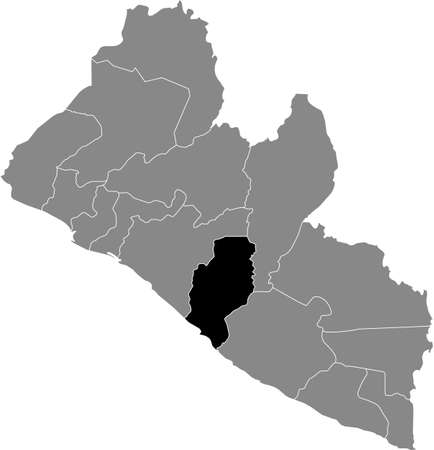 Black highlighted location map of the Liberian Rivercess county inside gray map of the Republic of Liberia