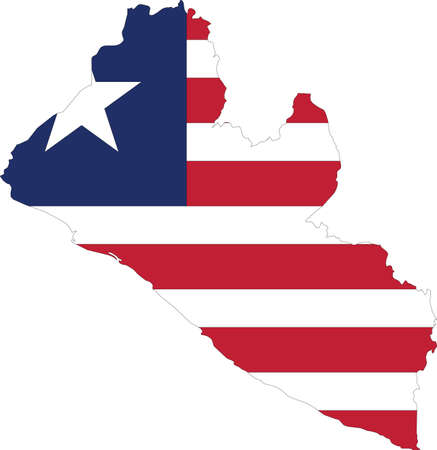 Simple flat flag map of the Republic of Liberia