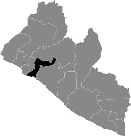 Black highlighted location map of the Liberian Margibi county inside gray map of the Republic of Liberia