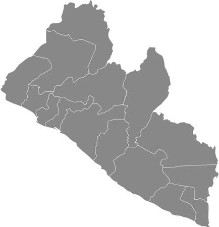 Gray vector map of the Republic of Liberia with white borders of its counties