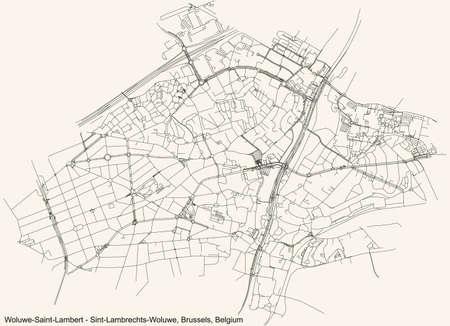 Black simple detailed street roads map on vintage beige background of the quarter Woluwe-Saint-Lambert (Sint-Lambrechts-Woluwe) municipality of Brussels, Belgium Vettoriali