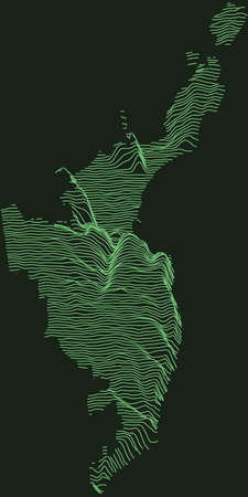 Topographic military radar tactical map of Odessa, Ukraine with emerald green contour lines on dark green background