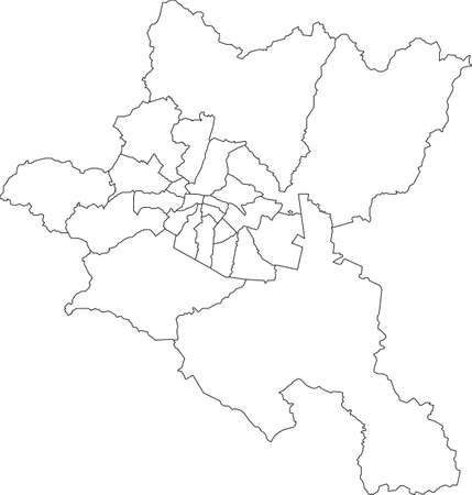 Simple white vector map with black borders of districts of Sofia, Bulgaria