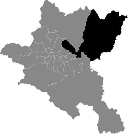 Black location map of the Sofian Kremikovtsi district inside the Bulgarian city of Sofia, Bulgaria