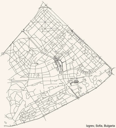 Black simple detailed street roads map on vintage beige background of the quarter Izgrev district of Sofia, Bulgaria