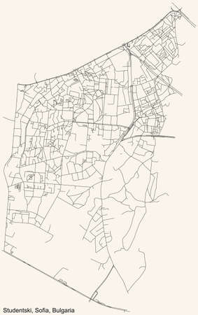 Black simple detailed street roads map on vintage beige background of the quarter Studentski district of Sofia, Bulgaria