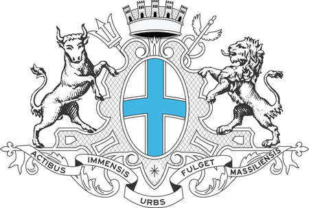 Vector coat of arms illustration of the French city of Marseille, France