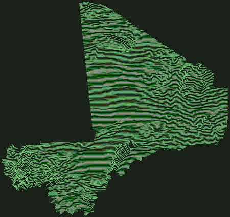 Topographic military radar tactical map of the Republic of Mali with emerald green contour lines on dark green background