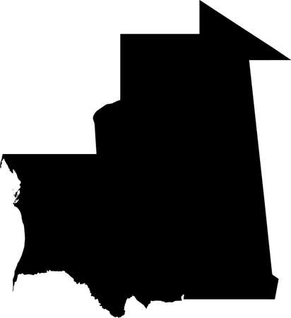 Simple black vector map of the Islamic Republic of Mauritania
