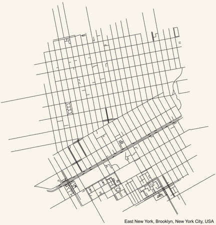 Black simple detailed street roads map on vintage beige background of the quarter East New York neighborhood of the Brooklyn borough of New York City, USA