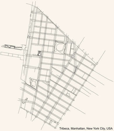 Black simple detailed street roads map on vintage beige background of the quarter Tribeca neighborhood of the Manhattan borough of New York City, USA