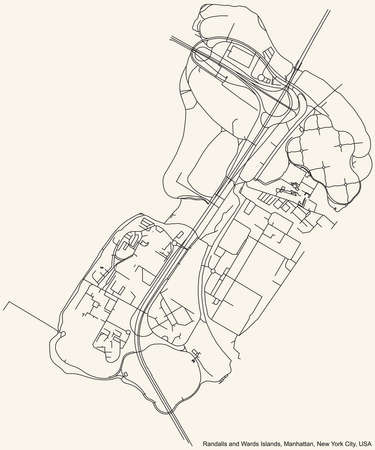 Black simple detailed street roads map on vintage beige background of the quarter Randalls and Wards Islands neighborhood of the Manhattan borough of New York City, USA