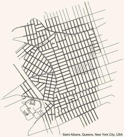 Black simple detailed street roads map on vintage beige background of the quarter Saint Albans neighborhood of the Queens borough of New York City, USA Vektoros illusztráció