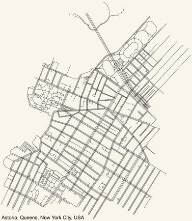 Black simple detailed street roads map on vintage beige background of the quarter Astoria neighborhood of the Queens borough of New York City, USA Vektoros illusztráció