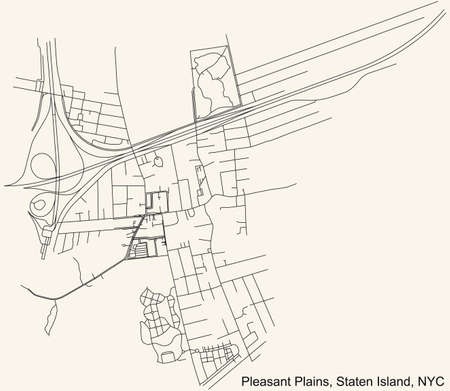 Black simple detailed street roads map on vintage beige background of the quarter Pleasant Plains neighborhood of the Staten Island borough of New York City, USA