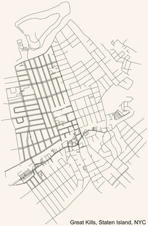 Black simple detailed street roads map on vintage beige background of the quarter Great Kills neighborhood of the Staten Island borough of New York City, USA