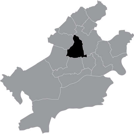 Black location map of the Frankfurter Mitte-Nord district (ortsbezirk) inside the German regional capital city of Frankfurt am Main, Germany