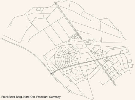 Black simple detailed street roads map on vintage beige background of the neighbourhood Frankfurter Berg city district of the Nord-Ost urban district (ortsbezirk) of Frankfurt am Main, Germany